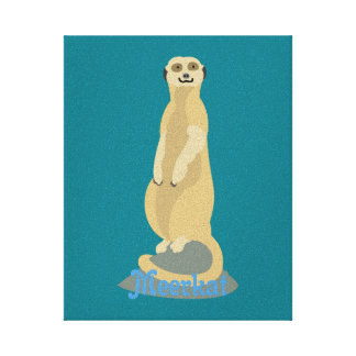 Cute African Meerkat standing upright atop a rock Canvas Print