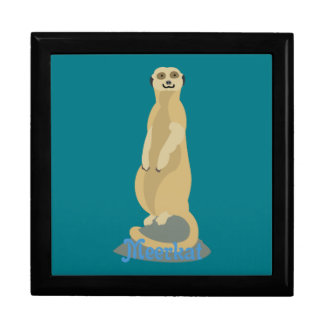 Cute African Meerkat standing upright atop a rock Gift Box
