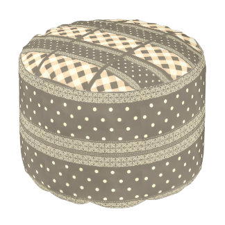 Cute African Traditional Woven Polka Dot Pattern Pouf