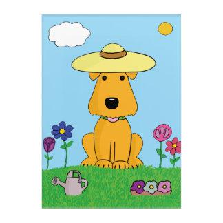 Cute Airedale Dog in Garden Acrylic Wall Art