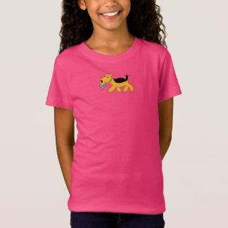 Cute Airedale Dog w Hat Girls' Fine Jersey T-Shirt