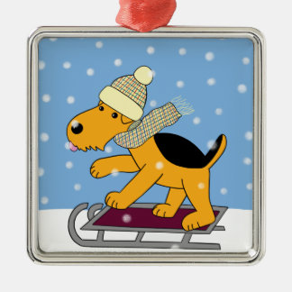 Cute Airedale Dog w Sled Premium Square Ornament