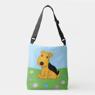 Cute Airedale Puppy Dog w Flowers Cross Body Bag