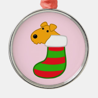 Cute Airedale Puppy in Christmas Stocking Ornament