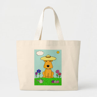 Cute Airedale Terrier Dog in Garden Tote Bag