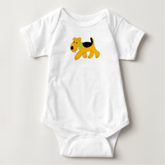 Cute Airedale Terrier Dog Jersey Baby Bodysuit