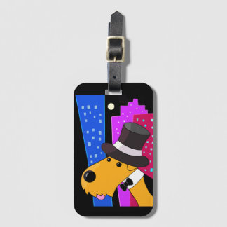 Cute Airedale Terrier on the Town Luggage Tag