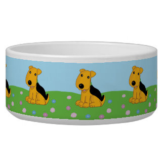 Cute Airedale Terrier Puppy Dog Pet Bowl