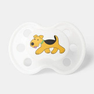 Cute Airedale Terrier Trotting Puppy Dog Pacifier