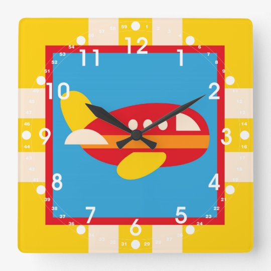Cute Airplane Transportation Theme Kids Gifts Square Wall Clock