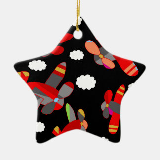 Cute airplanes ceramic star ornament