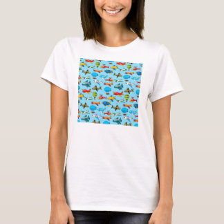 Cute Airplanes Helicopters Airships  Pattern T-Shirt