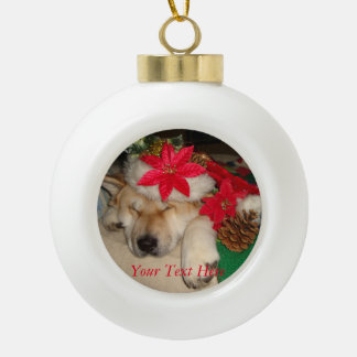 cute akita dog sleeping christmas hat cones ceramic ball christmas ornament