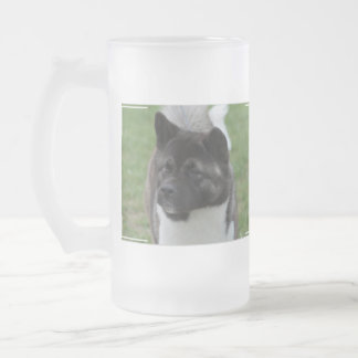 Cute Akita Frosted Glass Beer Mug