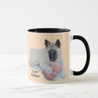 Cute akita painting with pink teddy bear art mug