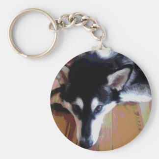 Cute Alaskan Malamute Face Basic Round Button Keychain