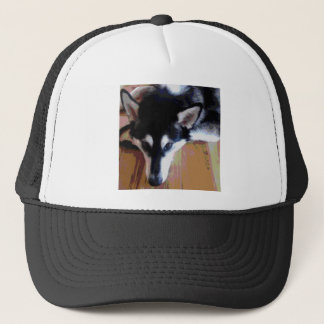 Cute Alaskan Malamute Face Trucker Hat