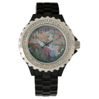 Cute Alice in Wonderland Fantasy Art Wristwatches