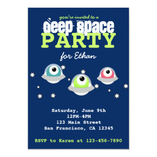 Cute alien deep outer space birthday party card