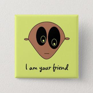 Cute Alien Face Print Square Button