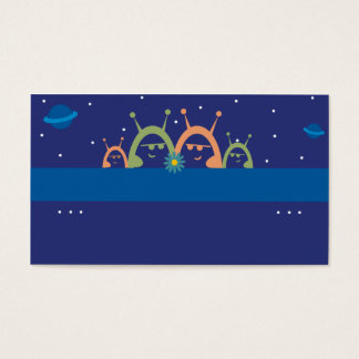 cute alien family spacemen planets personal callin business card