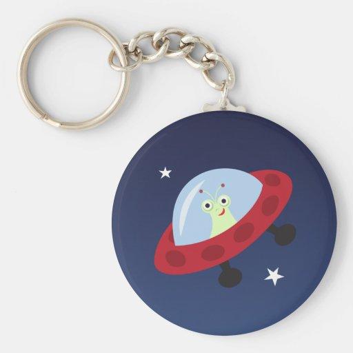 Cute alien in spaceship cartoon keychain for kids