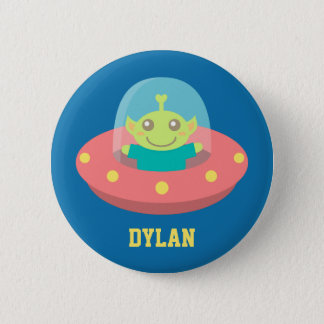 Cute Alien in Spaceship, Outer Space 2 Inch Round Button