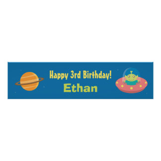 Cute Alien Outer Space Birthday Party Banner Poster