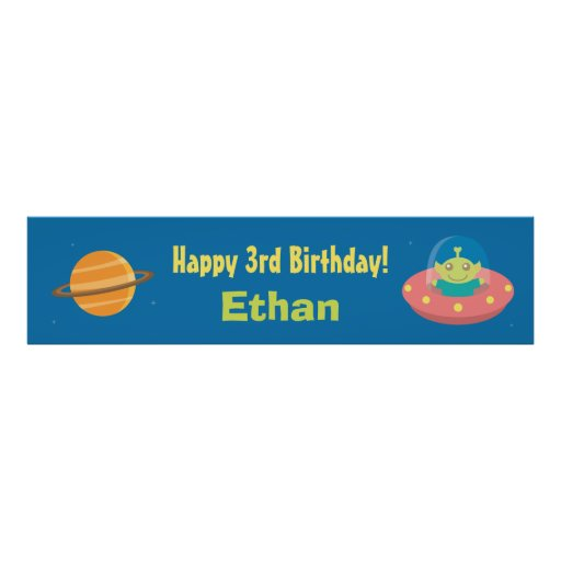 Cute Alien Outer Space Birthday Party Banner Print