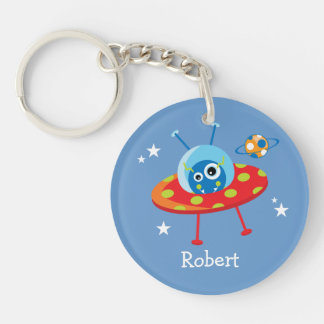 Cute Alien Spaceship Double-Sided Round Acrylic Keychain
