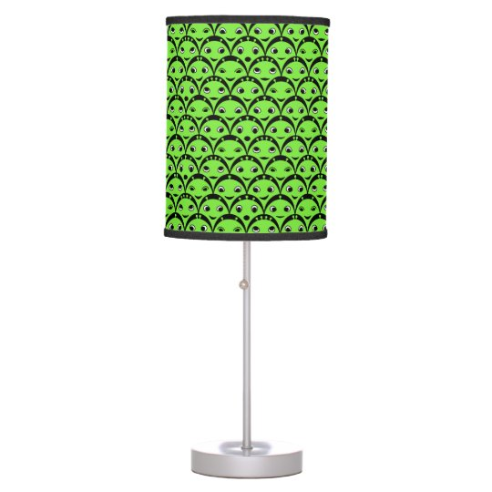 Cute Aliens Green and Black Pattern Table Lamp