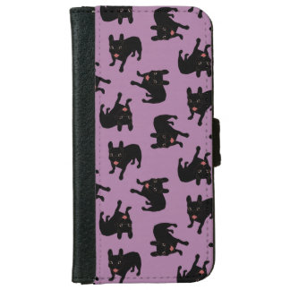 Cute all black brindle French Bulldog puppy iPhone 6 Wallet Case