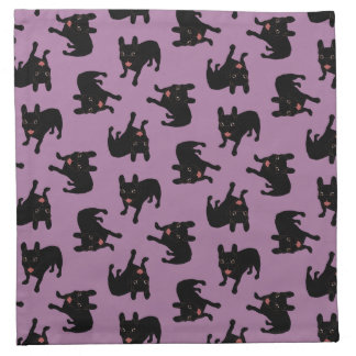 Cute all black brindle French Bulldog puppy Napkin