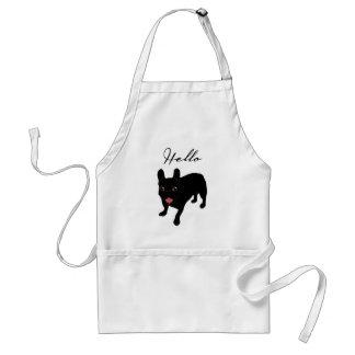 Cute all black brindle French Bulldog puppy Standard Apron