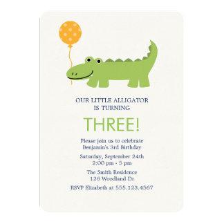 Cute Alligator Birthday Party Card