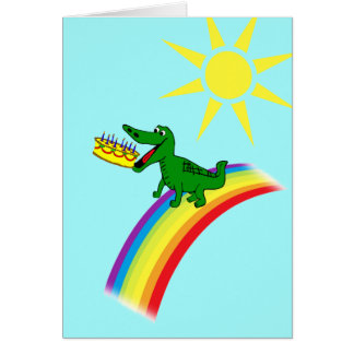Cute Alligator Eats Cake Birthday Greeting Card