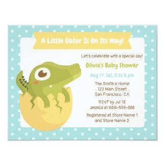 Cute Alligator in Egg Boy Baby Shower Invitations