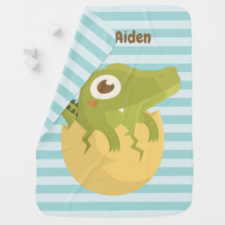 Cute Alligator in Egg Personalized Baby Blanket