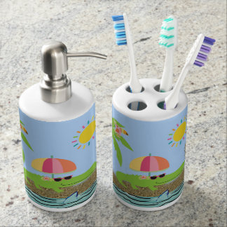 Cute Alligator on Toothbrush Holder and Soap Pump