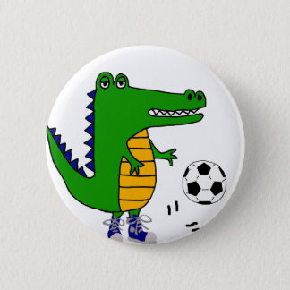 Cute Alligator Playing Soccer or Football Cartoon 2 Inch Round Button
