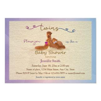Cute Alpaca Boy Girl Twins Baby Shower Invitations