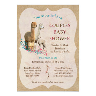 Cute Alpaca Family Couples Baby Shower Invitation