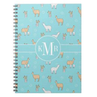 Cute Alpaca Llama Cactus Pattern Notebook