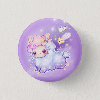Cute alpaca with kawaii shooting star 1 inch round button