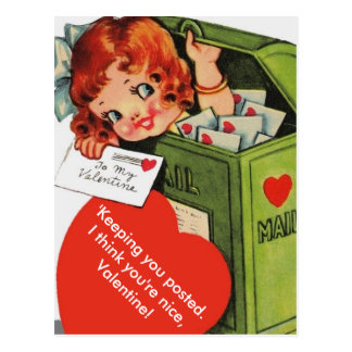 Cute Altered Vintage Girl in Mailbox Valentine Postcard