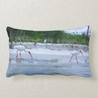 Cute American White Ibis Beach Birds Print Lumbar Pillow