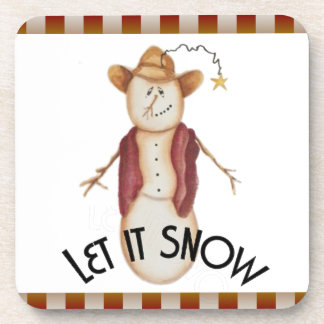 Cute Americana Christmas Cowboy Snowman Beverage Coasters