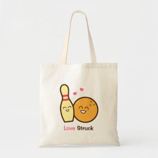 Cute Amusing Bowling Ball and Pin Love Struck Tote Bag