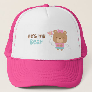 Cute Amusing Couple Female Bear and Butterfly Trucker Hat