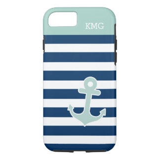 Cute Anchor in Trendy Navy Stripes Initials iPhone 7 Case